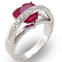 Ruby Heart CZ Ring
