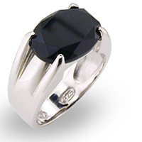 Oval Onyx Solitaire Ring