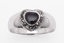Onyx Heart & Marcasite Ring