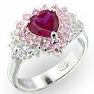 Rosette Ruby CZ Ring