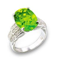 Oval Emerald & Peridot CZ Ring