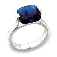 Sapphire Solitaire CZ Ring