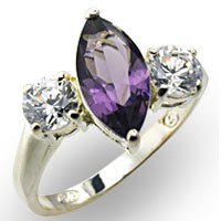 Amethyst CZ Marquise Ring