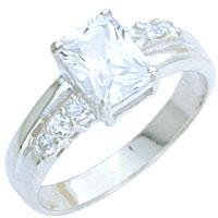 Emerald Cut Diamond CZ Ring