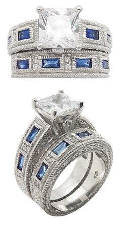 Blue CZ Baguette Wedding Set