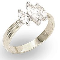 Marquise 3 Stone CZ Ring