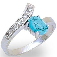 Turquoise & CZ Ring