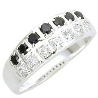 Black & Clear CZ Band