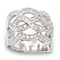 Wide Woven CZ Ring