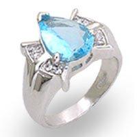 Aqua Pear CZ Ring
