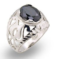 Black CZ Mens Filigree Ring