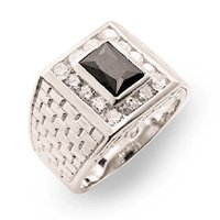 Onyx & Diamond CZ Mens Ring