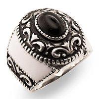 Mens Black Antiqued Ring