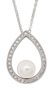 Drop Shaped CZ Pearl Necklace