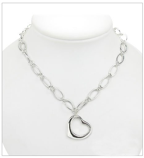 Oval Link Open Heart Necklace