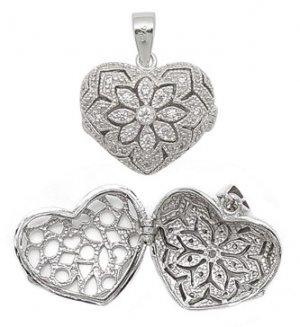 CZ Heart & Flower Locket