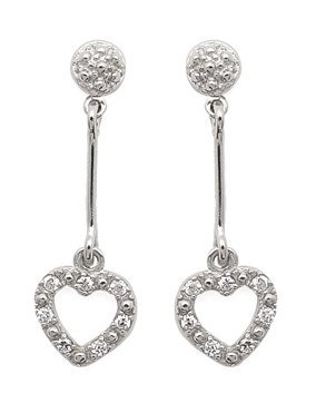 Hanging Heart CZ Earrings