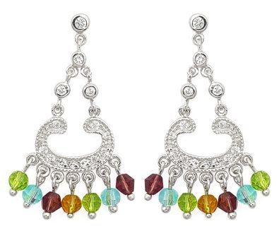 Multi-Color CZ Chandelier Earrings