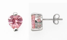 Pink CZ Heart Earrings