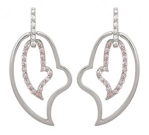 Double Heart Pink CZ Earrings