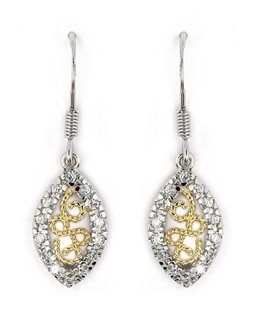 Two Tone Marquise Earrings