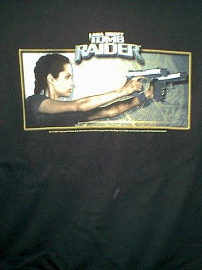 Lara Croft Tomb Raider T-Shirt 2 Guns Black Size XL