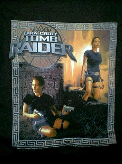 Tomb Raider T-Shirt Lara Croft Dual Image Black Size Large