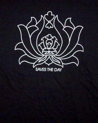 Saves the Day T-Shirt Lotus Flower Black Size Large