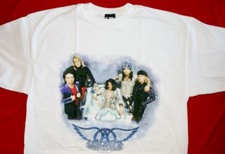 Aerosmith T-Shirt Group Photo White Size XL