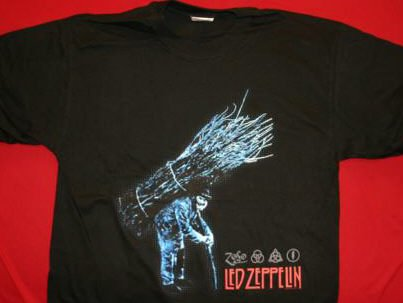 Led Zeppelin T-Shirt Stickman Zoso Black Size Large