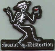 Social Distortion Iron-On Patch Martini Skeleton