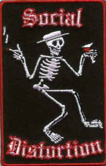 Social Distortion Iron-On Patch Rectangle Skeleton