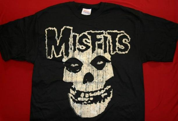 Misfits T-Shirt Distressed Skull Black Size Large