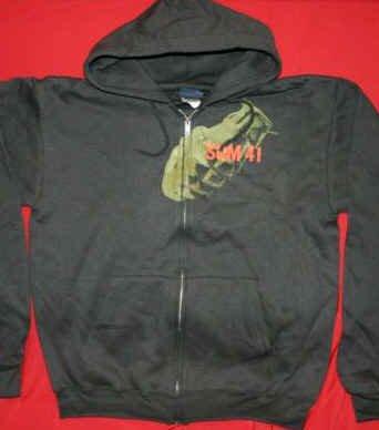 Sum 41 Zipper Hoodie Sweatshirt Grenade Black Size XL