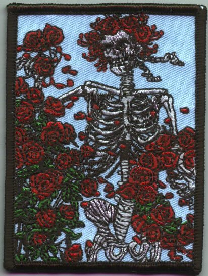 Grateful Dead Iron-On Patch Skeleton Roses