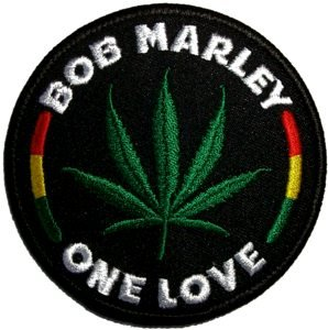 Bob Marley Iron-On Patch One Love Leaf Logo