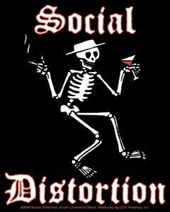 Social Distortion Vinyl Sticker Rectangle Skeleton