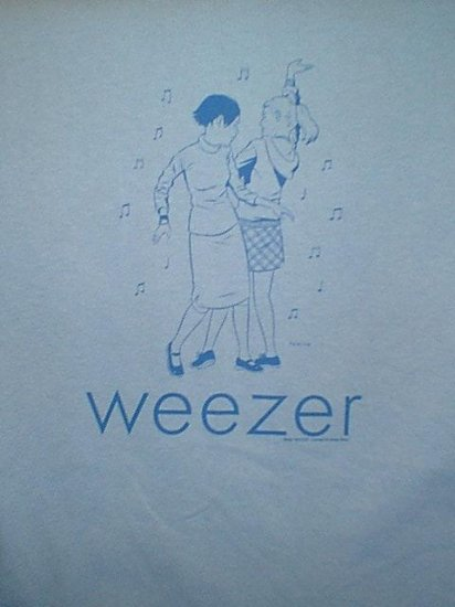 Weezer T-Shirt Dancing Girls Logo Blue Size Large