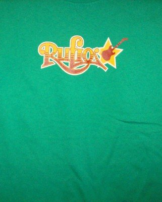 Rufio T-Shirt Guitar Star Logo Green Size Small