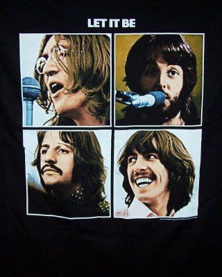 The Beatles T-Shirt Let it Be Black Size Large