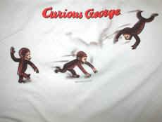 Curious George T-Shirt Acrobat Tumbling White Size XL