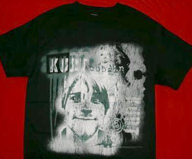 Kurt Cobain T-Shirt Drip Collage Nirvana Black Size Small