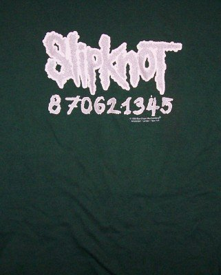 Slipknot T-Shirt Silver Logo Green Size XXL