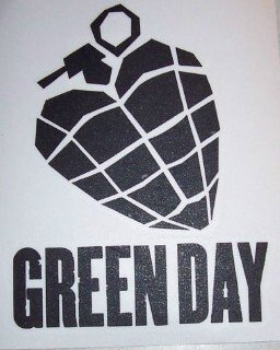 Green Day Vinyl Cut Sticker Black Heart Grenade