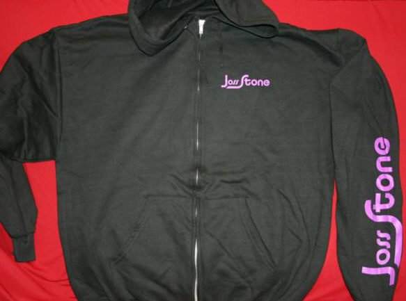 Joss Stone Zipper Hoodie Sweatshirt Black Size Medium