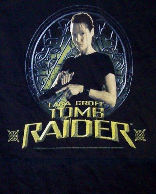 Tomb Raider T-Shirt Lara Croft Loading Gun Black Size Medium