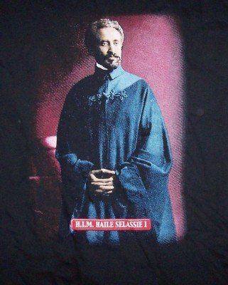 Haile Selassie T-Shirt King of Kings Black Size Medium