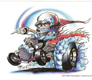 Skeleton Hot Rod Vinyl Sticker Stanley Mouse Design