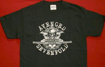 Avenged Sevenfold T-Shirt Bat Skull Black Size Large