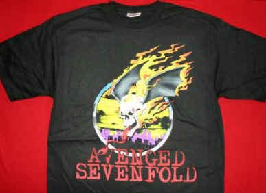 Avenged Sevenfold T-Shirt Skull Logo Black Size Large